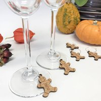 Personalised Five Gingerbread Wine Glass Charms
