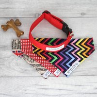 Red Dog Collar And Bandana Set For Girl Or Boy Dogs