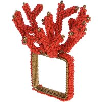 Set Of Four Beaded Coral Napkin Rings