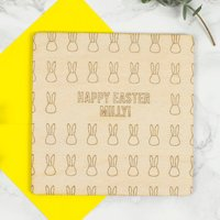 Personalised Wooden Easter Card, Yellow