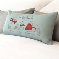 Personalised Bear Family Cushion, Red