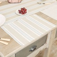 Set Of Four Millstone Blue Striped Cotton Placemats