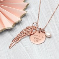Personalised Rose Or Yellow Gold Angel Wing Necklace, Gold