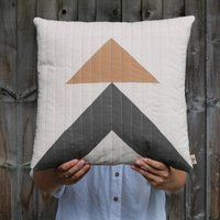Triangle Pattern Hopton Clay Quilted Cushion
