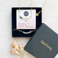 Love Gemstone Necklace And Bracelet Gift Set