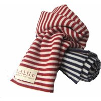 Kids Breton Stripy Pure Cashmere Scarf, Indigo/Ruby