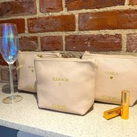 Personalised Bridal Party Leather Cosmetic Bag