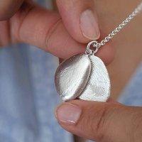 Silver Fingerprint Pebble Locket Necklace, Silver
