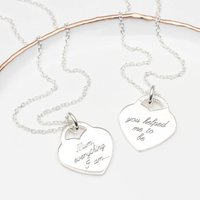 Personalised Girl's Sterling Silver Heart Necklace, Silver