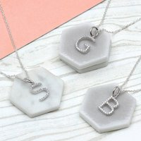 Personalised Silver And Pave Initial Charm Necklace, Silver