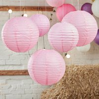 Baby Pink Party And Wedding Paper Hanging Lanterns, Pink