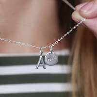 Me And You Personalised Initial Disc Necklace