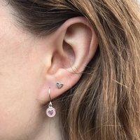Mini Heart Enamel Hook Earrings Silver Or Gold Vermeil, Silver