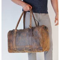 Watkins Leather Twin Handle Zip Top Weekend Bag Wax