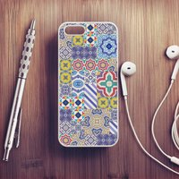 Moroccan Tile Case For iPhone, White/Black