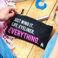 Just Wing It Eyeliner Make Up Bag, Black/Cream