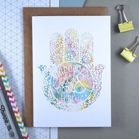 Hamsa Watercolour Birthday Card