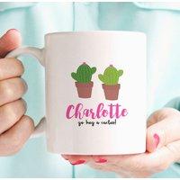 Go Hug A Cactus! Personalised Cute Cactus Mug, Pink/Teal Green/Teal