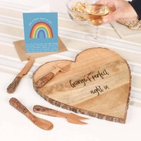Personalised Heart Cheese Board And Knives Gift Set