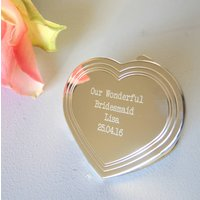 Personalised Silver Heart Compact Mirror