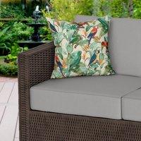 Tropical Birds Beige Water Resistant Outdoor Cushion