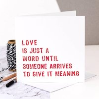 Engagement Card 'Love Is Just A Word'