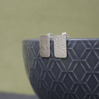 Sterling Silver Watercolour Vines Tag Stud Earrings, Silver
