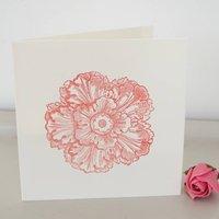 Handmade Flower Card, Red/Purple