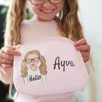 Personalised Little Miss Childrens Purse Bag, Pastel Pink/Pink/Pastel Blue