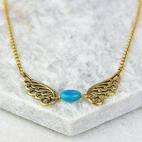 Angel Wing Birthstone Necklace, Gold/Silver