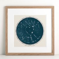 Personalised Extra Large Star Map Print, Black/White
