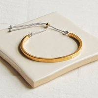 Gold Cuff Bangle With Grey Cord, Gold