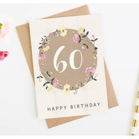 60th Birthday Card Floral