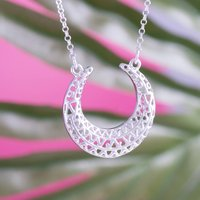 Aztec Crescent Pendants In Gold And Silver, Silver