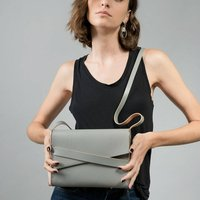 Grey Modern Leather Satchel