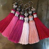 Pinks Handmade Tassels Key Rings, Rose/Pink/Lilac