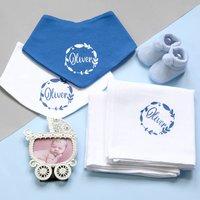 Personalised White And Blue Newborn Baby Gift Set