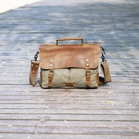 Canvas And Leather Messenger Bag Gift For Him, Green/Grey/Brown