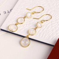 Triple Gemstone Drop Earrings