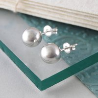 Large Classic Sterling Silver Ball Stud Earrings, Silver