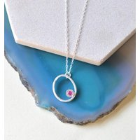 Silver Ruby Precious Birthstone Oval Necklace, Silver