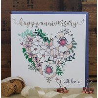 Luxury Wedding Anniversary Card Heart Design