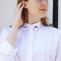 Embroidered White Shirt With Statement Winking Eyes