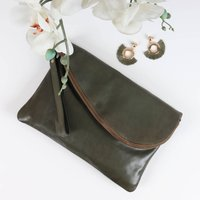 Leather Envelope Clutch Evening Bag, Green