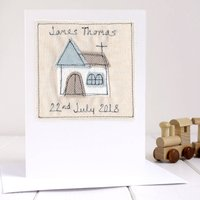 Personalised Boy's Christening Card, Blue
