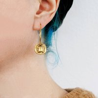 Gold Zodiac Starsign Earrings, Gold