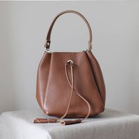Leather Drawstring Mini Handbag, Tan