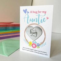 Personalised Little Hug Token Floral Card For Auntie