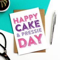 Happy Cake And Pressie Funny Day Greetings Card