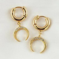 Clear Pave Horn Earrings